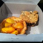 Huge peach tart and date square after I got them home
