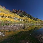 Sievers Mountain and Aspen reflected in Maroon Lake