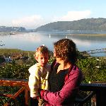 My wife and son on the balcony of our room at paradise house in Knysna