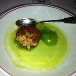 Entrée tomate verte + crab cake !