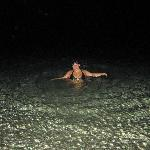 beach at night is safe and sea water is clear and warm
