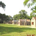 slave cabins filled with exhibits