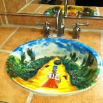 Basin hand painted