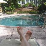 Relaxing by the Marquesa's pool