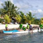 Paddlers Arrive for Lunch