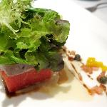 Seared tuna with mezclun greens and grilled watermelon