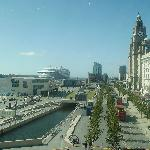 Stunning view of Pier Head from inside the museum.