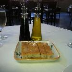 bread, olive oil, and balsamic vinegar