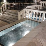 fountain and glass floor with water
