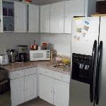A corner of the kitchen with good appliances.