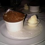 chocolate soufflé with vanilla ice cream