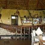 Bar made from a fishing boat at Kyambura Game Lodge