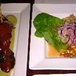 Anticuchos - beef heart skewers, aji panca-achiote glaze, aji verde aioli, Yukon potatoes, and s