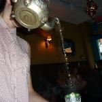 The waitress pouring my mint tea