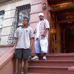 my nephew Darren & friend standing outside of bed and breakfast