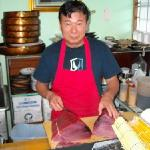 Jinya preparing locally caught, fresh, Bluefin Tuna