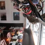 The bistro's dining room complete with necktie sculpture and amazing portrait exhibit!