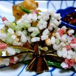 "The ""tree"" is made of seaweed. The ""flowers"" are savory rice puffs. Super tasty."