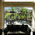 View from lobby to the terrace and Api Gamalama
