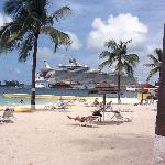Beach View of Cruise Ships