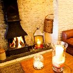 Our warm and cosy fireplace area