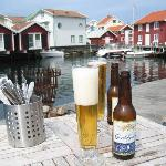 Having a beer at lunch on the quay of the sea lodge.
