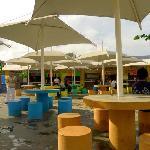 Food stalls on the festival area around the corner