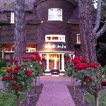 Dusk View of the Inn the roses smell wonderful!