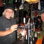Our host Harry, pulling pints.