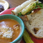 Fried Green Tomato Sandwich, Tomato-Basil Soup, Chocolate-Ginger Cookie