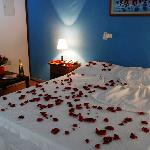 A room decorated for honey moon
