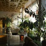 Tropical plants in the lobby of the Hotel Rossiya help create a pleasant atmosphere