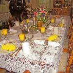 A scrumptious breakfast is served graciously in the GREAT ROOM on family china amidst great conv