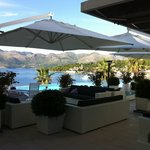 The pool bar area at Lafodia. Stunning views of the bay & great evening sun