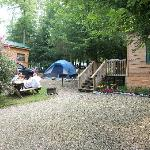 Tenting between 2 cabins