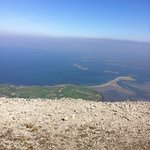 view from top of Croagh Patrick across Clew Bay