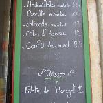 The menu for meats and fish at Le Plaisantin.