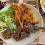 Lamb chops with frites and salad. So good.