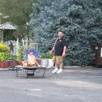 Terry getting the campfire ready for guest