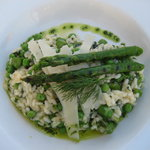 Asparagus, pea and parmesan risotto.