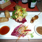 Set menu 2: starter. Spring Roll. Chicken Satay. Prawn & Papaya Salad.