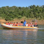 Inflatable high speed boat used for trip