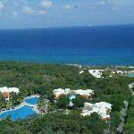 Arial of Resort taken from Observatory @ Xcaret-Quiet pool, surrounding buildings, jungle and be
