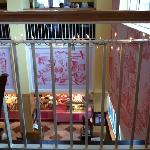 Looking down at bakery from dining room.