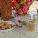 The tamarind margarita was great! That's chili powder on the rim.