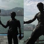 ブルース・リーの銅像と、映画撮影風景銅像