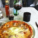 pizza rustica and wine