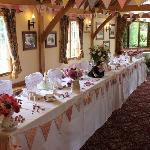 The Barn decorated for the wedding