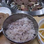 ご飯は赤米でした