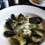 pan fried haddock with mussels in a bacon and leek sauce. yummy.